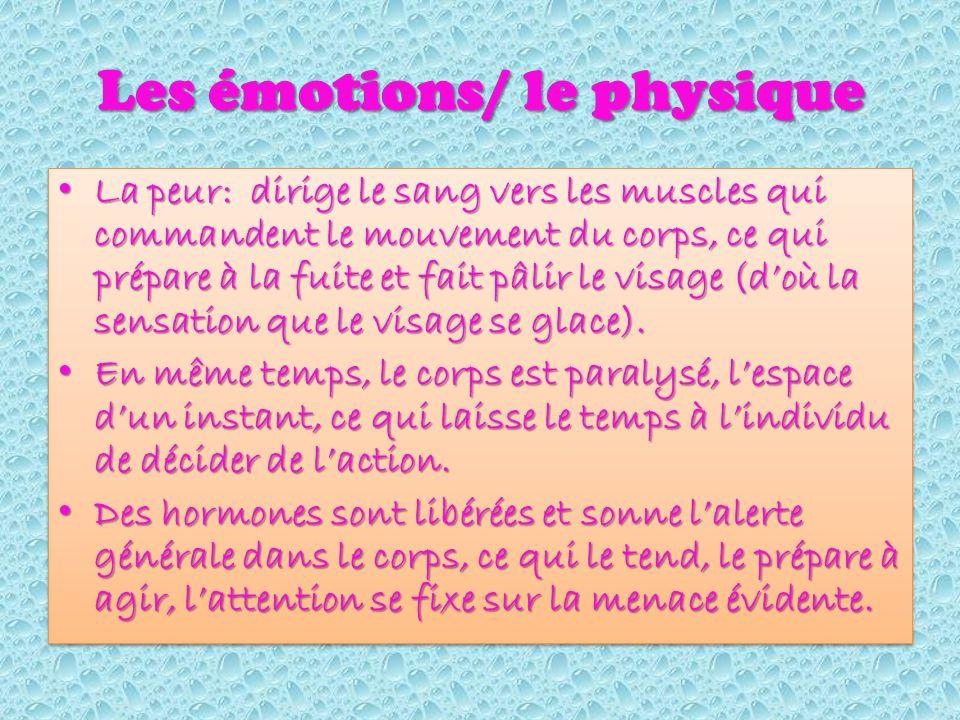 Les émotions/ le physique La peur: dirige le sang vers les muscles qui commandent le mouvement du corps, ce qui prépare à la fuite et fait pâlir le visage (doù la sensation que le visage se glace).