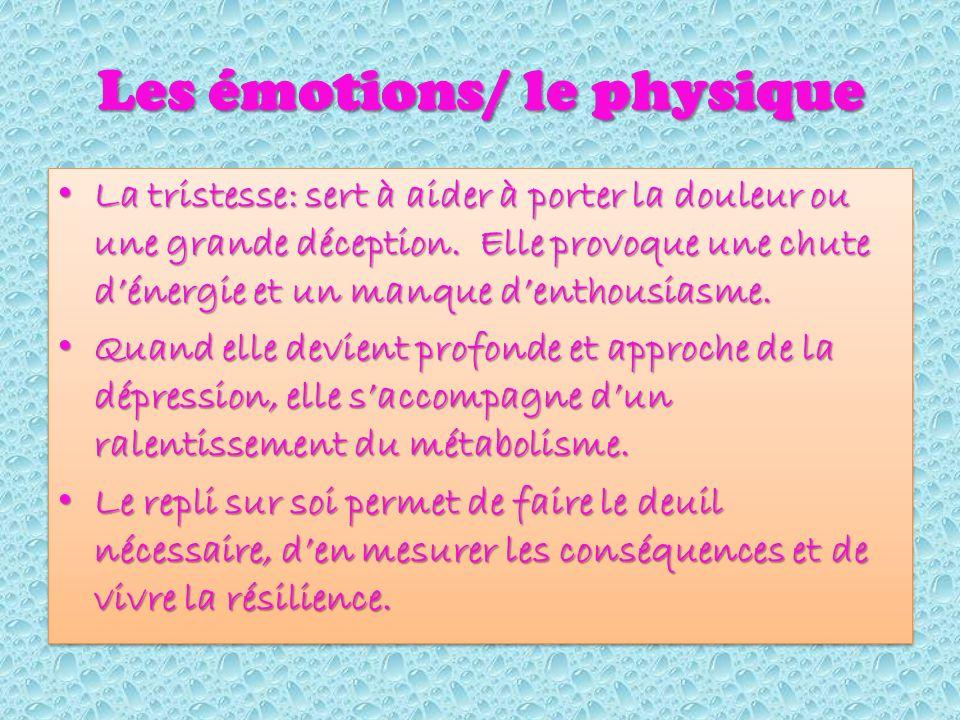 Les émotions/ le physique La tristesse: sert à aider à porter la douleur ou une grande déception.