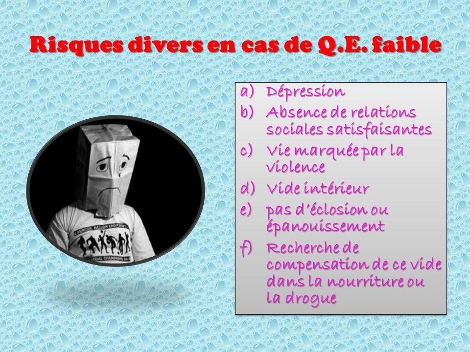 Risques divers en cas de Q.E.