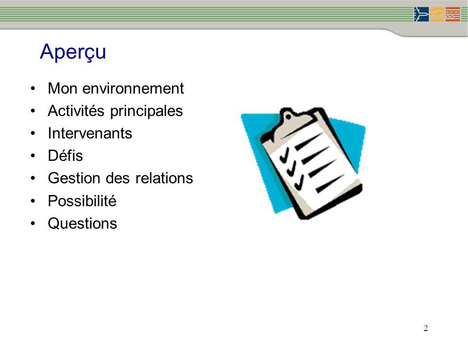 2 Aperçu Mon environnement Activités principales Intervenants Défis Gestion des relations Possibilité Questions