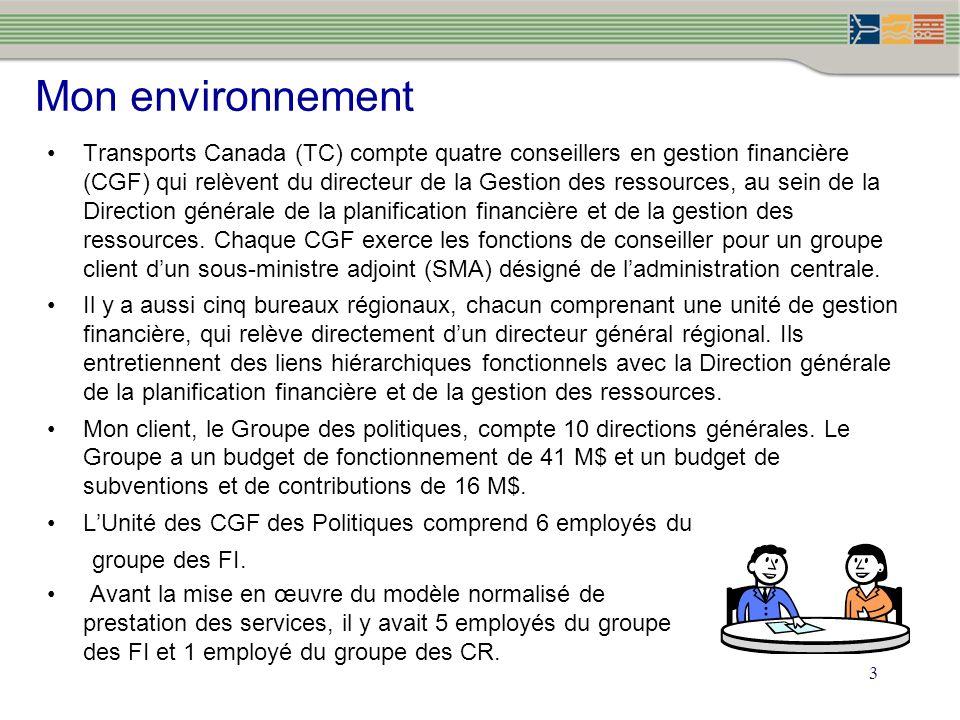 3 Mon environnement Transports Canada (TC) compte quatre conseillers en gestion financière (CGF) qui relèvent du directeur de la Gestion des ressources, au sein de la Direction générale de la planification financière et de la gestion des ressources.