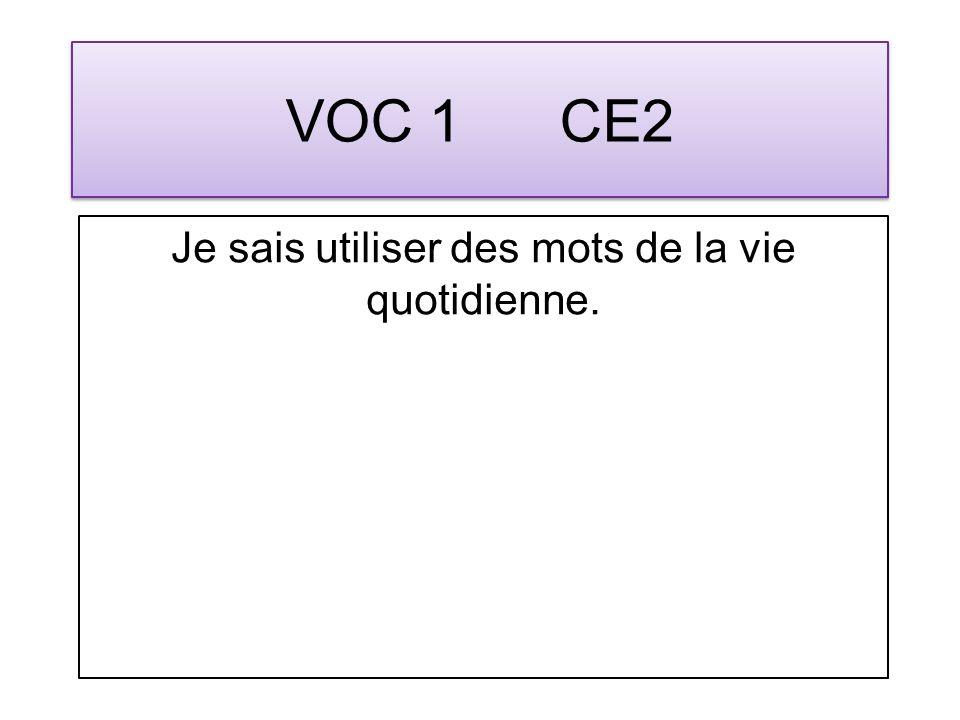 VOC 1 CE2 Je sais utiliser des mots de la vie quotidienne.