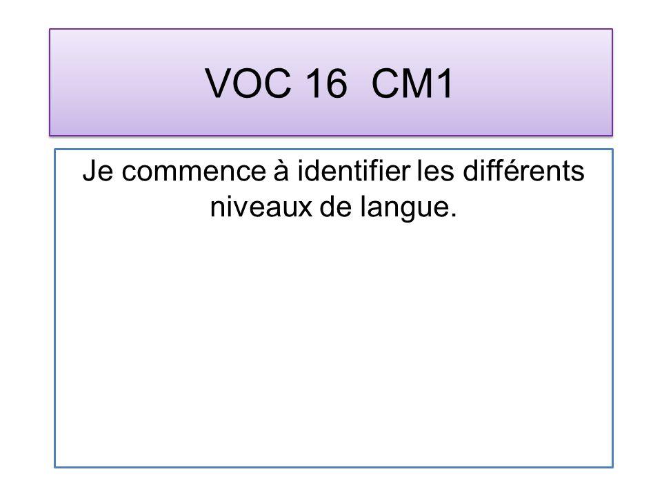 VOC 16 CM1 Je commence à identifier les différents niveaux de langue.