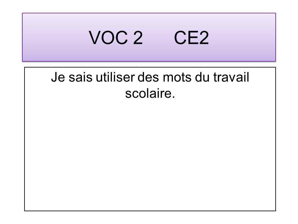 VOC 3 CE2 Je sais utiliser des mots en rapport avec le temps qui passe.