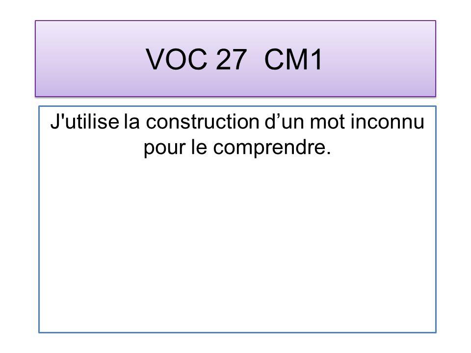 VOC 27 CM1 J utilise la construction dun mot inconnu pour le comprendre.