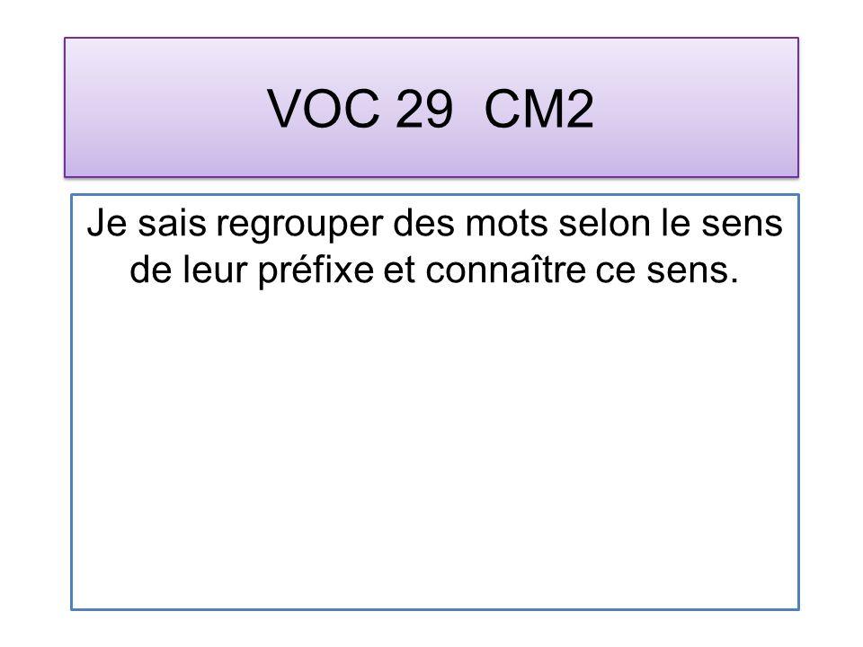 VOC 29 CM2 Je sais regrouper des mots selon le sens de leur préfixe et connaître ce sens.
