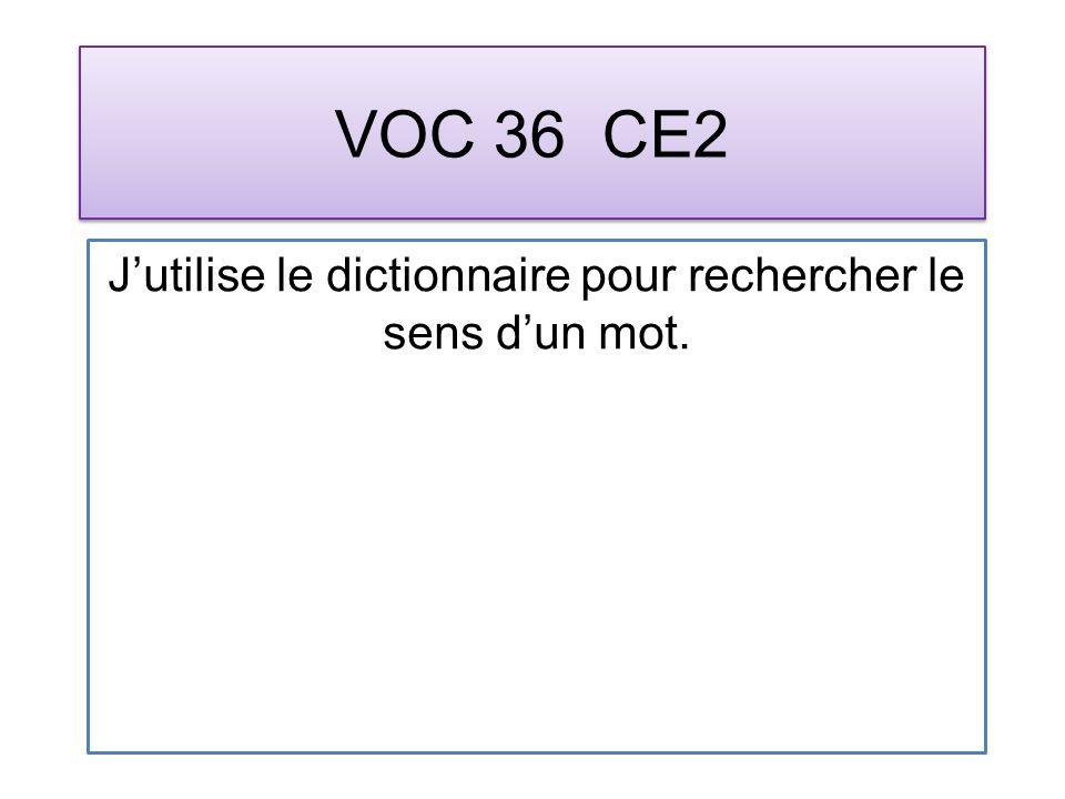 VOC 36 CE2 Jutilise le dictionnaire pour rechercher le sens dun mot.