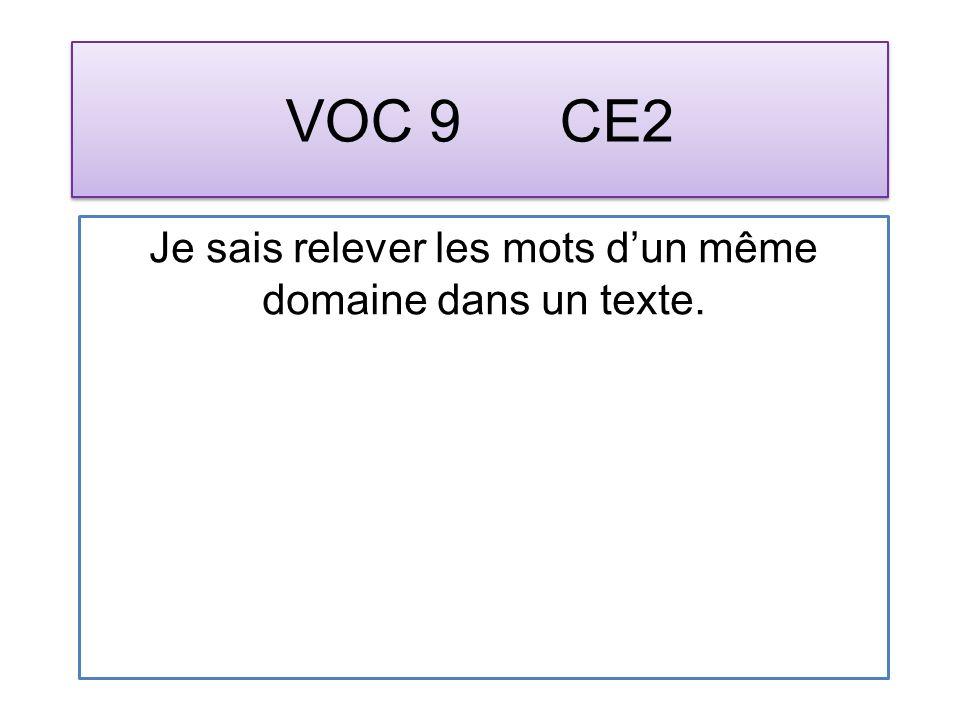 VOC 9 CE2 Je sais relever les mots dun même domaine dans un texte.