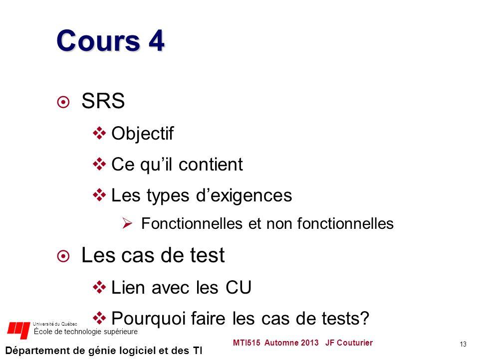 Département de génie logiciel et des TI Université du Québec École de technologie supérieure Cours 4 SRS Objectif Ce quil contient Les types dexigences Fonctionnelles et non fonctionnelles Les cas de test Lien avec les CU Pourquoi faire les cas de tests.