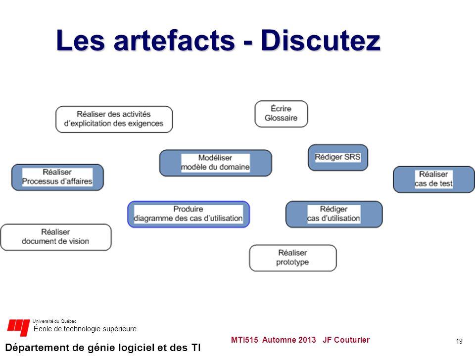 Département de génie logiciel et des TI Université du Québec École de technologie supérieure Les artefacts - Discutez MTI515 Automne 2013 JF Couturier 19