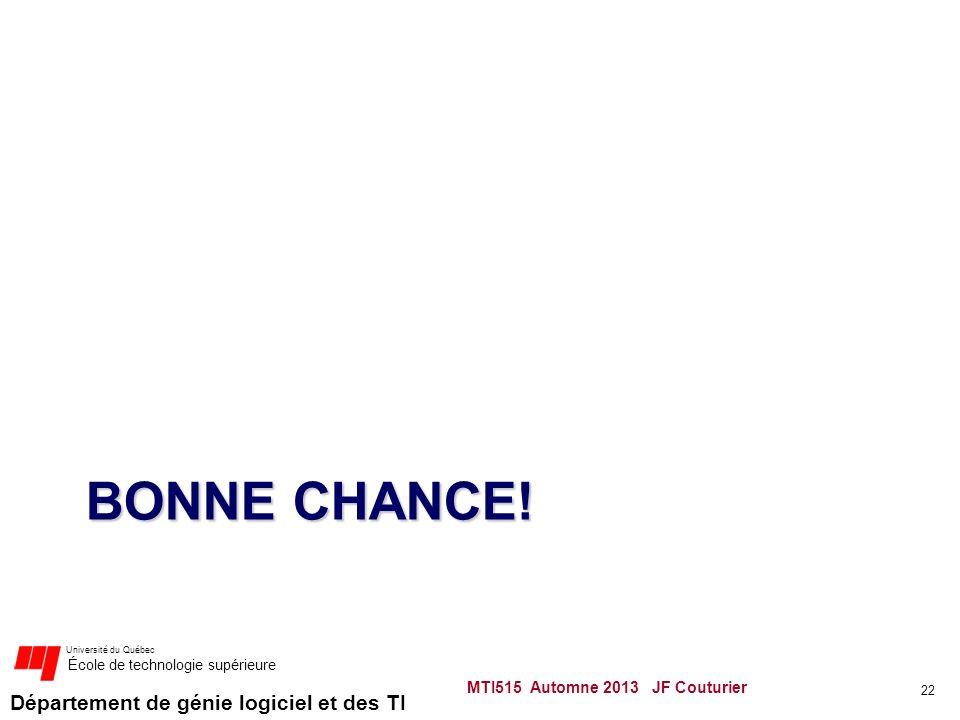 Département de génie logiciel et des TI Université du Québec École de technologie supérieure BONNE CHANCE.