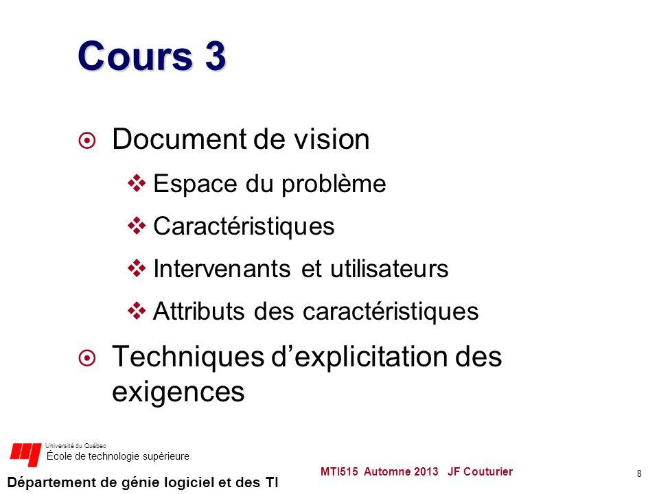 Département de génie logiciel et des TI Université du Québec École de technologie supérieure Cours 3 Document de vision Espace du problème Caractéristiques Intervenants et utilisateurs Attributs des caractéristiques Techniques dexplicitation des exigences 8 MTI515 Automne 2013 JF Couturier