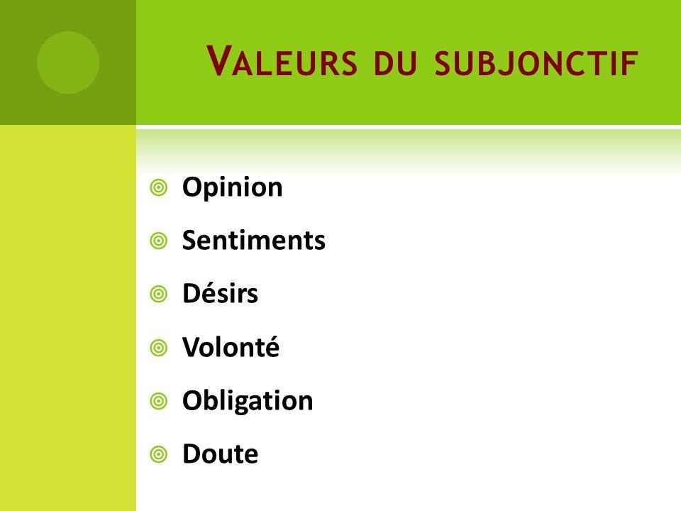 V ALEURS DU SUBJONCTIF Opinion Sentiments Désirs Volonté Obligation Doute