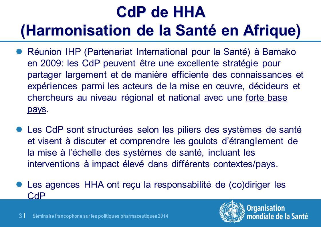 Séminaire francophone sur les politiques pharmaceutiques 2014 3 |3 | CdP de HHA (Harmonisation de la Santé en Afrique) Réunion IHP (Partenariat Intern