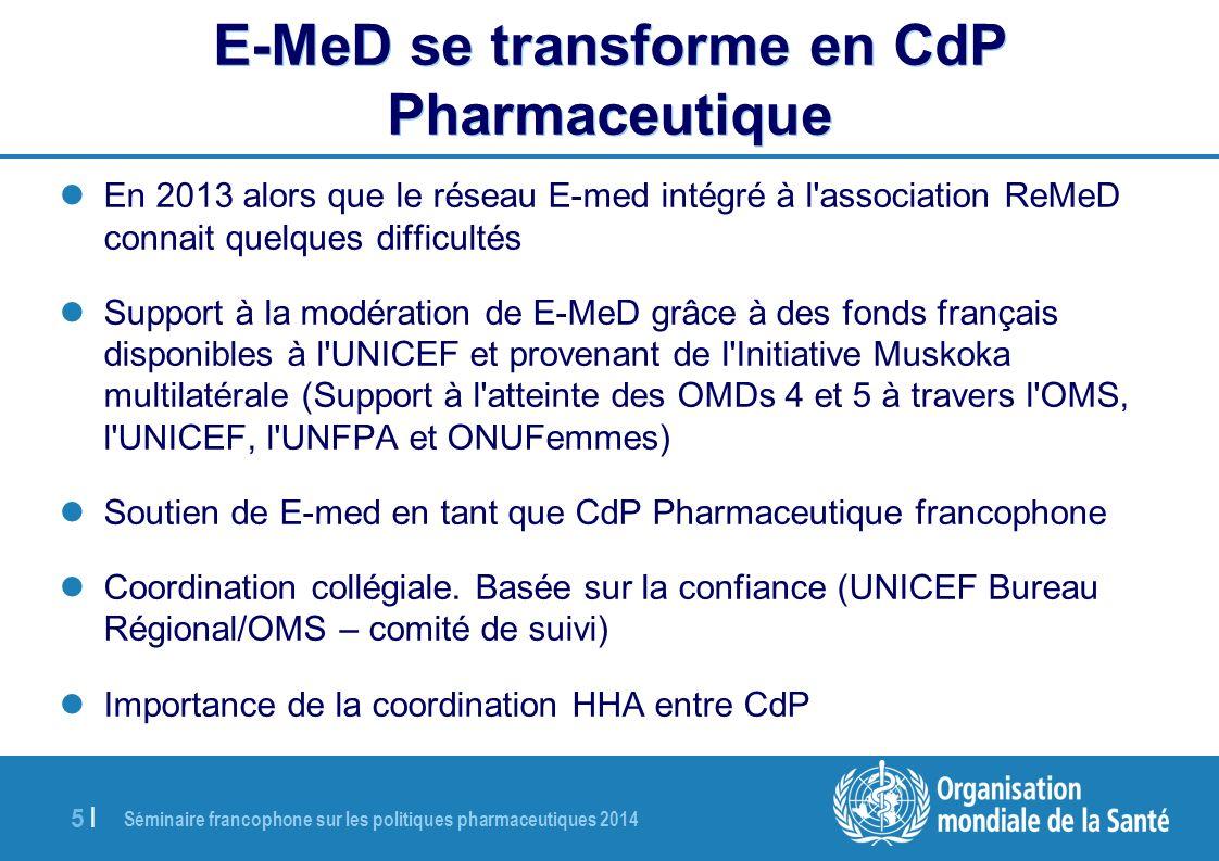 Séminaire francophone sur les politiques pharmaceutiques 2014 5 |5 | E-MeD se transforme en CdP Pharmaceutique En 2013 alors que le réseau E-med intég
