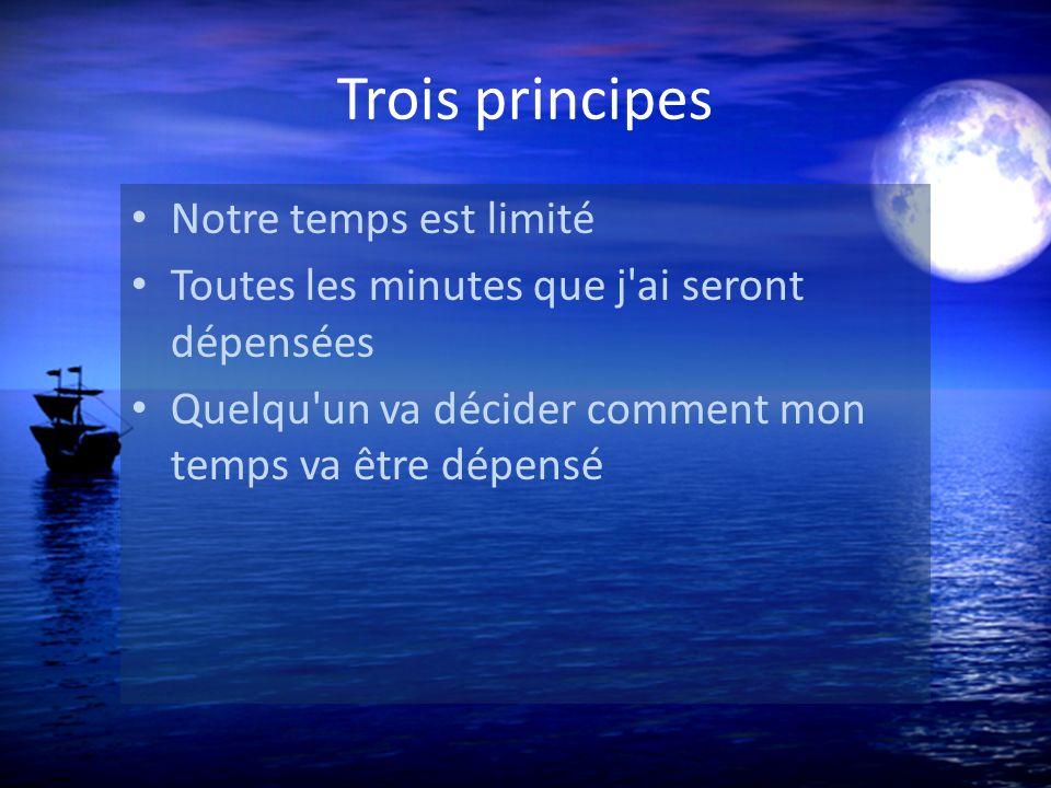 Trois principes Notre temps est limité Toutes les minutes que j ai seront dépensées Quelqu un va décider comment mon temps va être dépensé