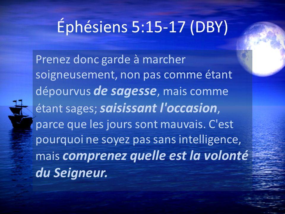 Éphésiens 5:15-17 (DBY) Prenez donc garde à marcher soigneusement, non pas comme étant dépourvus de sagesse, mais comme étant sages; saisissant l'occa