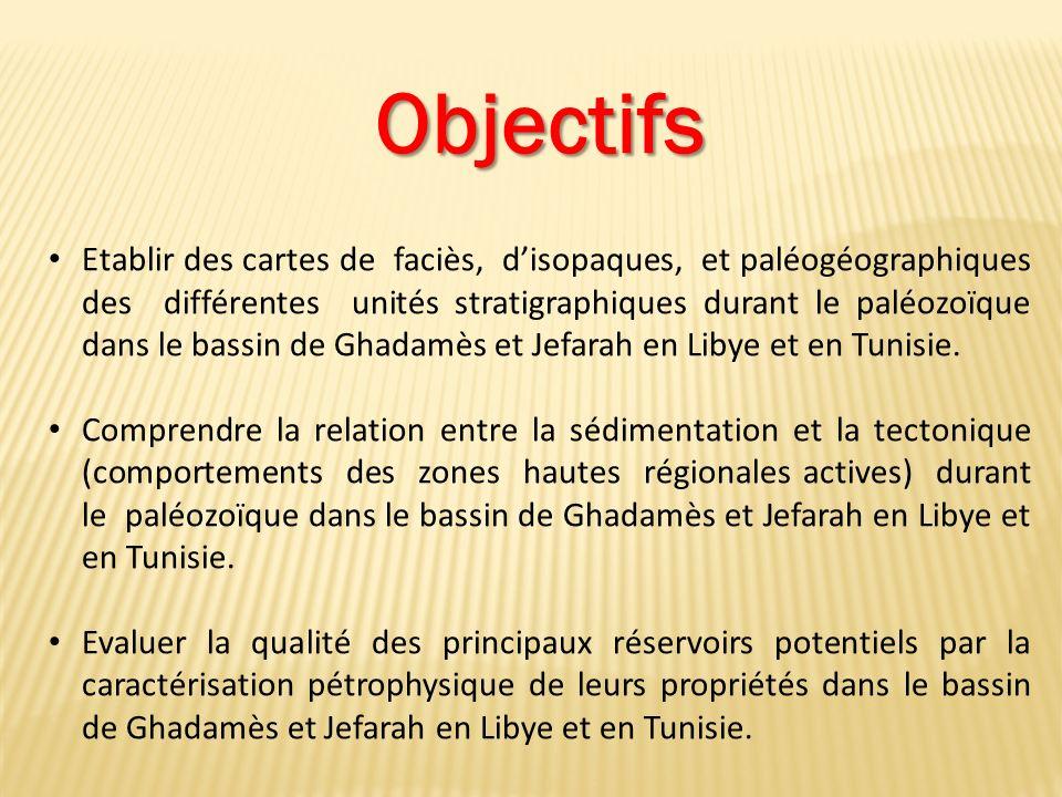 Objectifs Etablir des cartes de faciès, disopaques, et paléogéographiques des différentes unités stratigraphiques durant le paléozoïque dans le bassin de Ghadamès et Jefarah en Libye et en Tunisie.