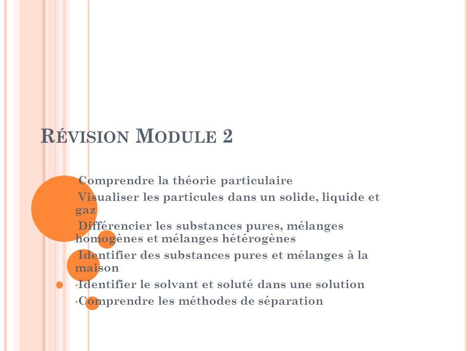 R ÉVISION M ODULE 2 Comprendre la théorie particulaire Visualiser les particules dans un solide, liquide et gaz Différencier les substances pures, mél