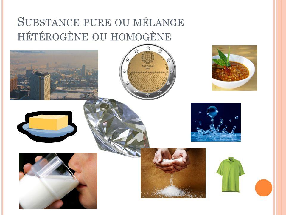 S UBSTANCE PURE OU MÉLANGE HÉTÉROGÈNE OU HOMOGÈNE