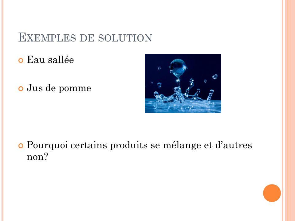 E XEMPLES DE SOLUTION Eau sallée Jus de pomme Pourquoi certains produits se mélange et dautres non?