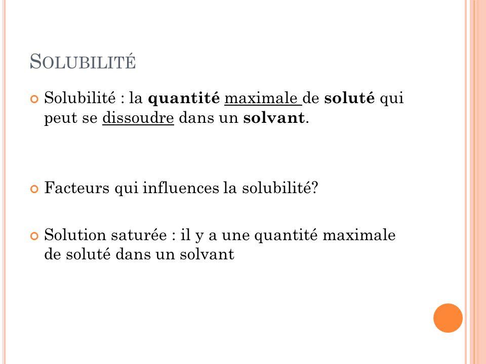 S OLUBILITÉ Solubilité : la quantité maximale de soluté qui peut se dissoudre dans un solvant. Facteurs qui influences la solubilité? Solution saturée