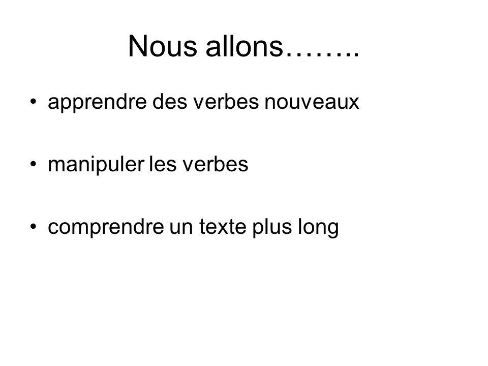 Nous avons …….. Appris des verbes nouveaux Manipulé les verbes Compris un texte plus long