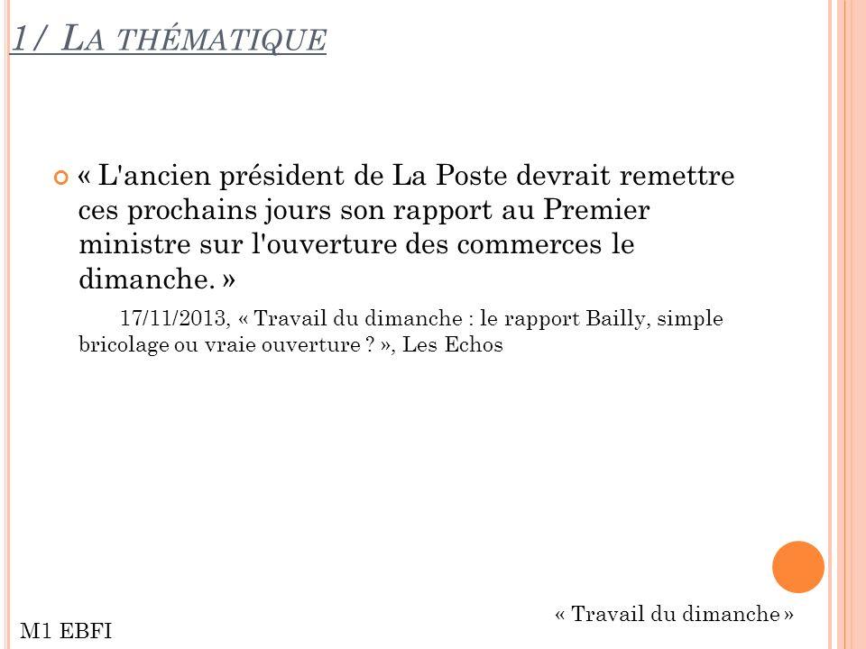 1/ L A THÉMATIQUE « L ancien président de La Poste devrait remettre ces prochains jours son rapport au Premier ministre sur l ouverture des commerces le dimanche.