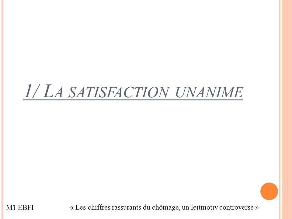 1/ L A SATISFACTION UNANIME M1 EBFI « Les chiffres rassurants du chômage, un leitmotiv controversé »