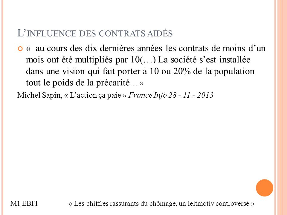 L INFLUENCE DES CONTRATS AIDÉS « au cours des dix dernières années les contrats de moins dun mois ont été multipliés par 10(…) La société sest installée dans une vision qui fait porter à 10 ou 20% de la population tout le poids de la précarité … » Michel Sapin, « Laction ça paie » France Info 28 - 11 - 2013 M1 EBFI« Les chiffres rassurants du chômage, un leitmotiv controversé »