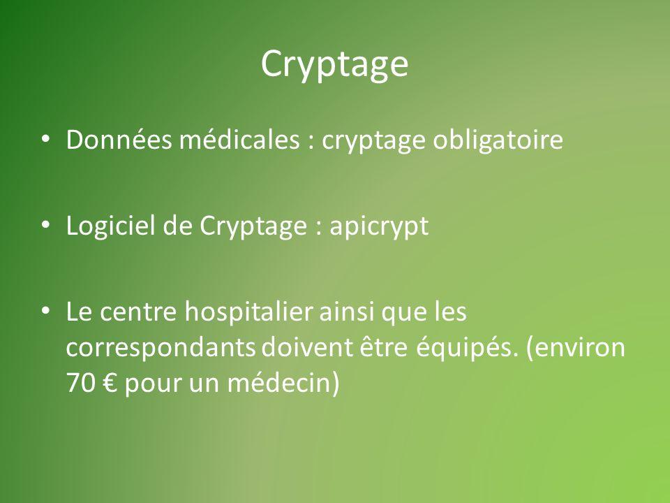 Cryptage Données médicales : cryptage obligatoire Logiciel de Cryptage : apicrypt Le centre hospitalier ainsi que les correspondants doivent être équipés.