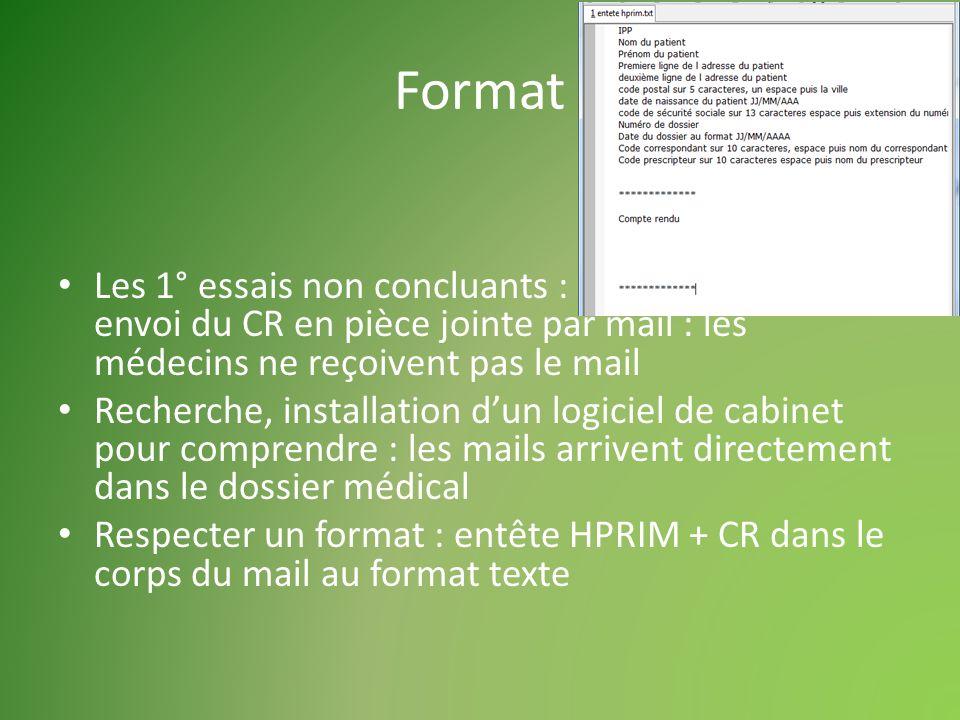 Format Les 1° essais non concluants : envoi du CR en pièce jointe par mail : les médecins ne reçoivent pas le mail Recherche, installation dun logiciel de cabinet pour comprendre : les mails arrivent directement dans le dossier médical Respecter un format : entête HPRIM + CR dans le corps du mail au format texte