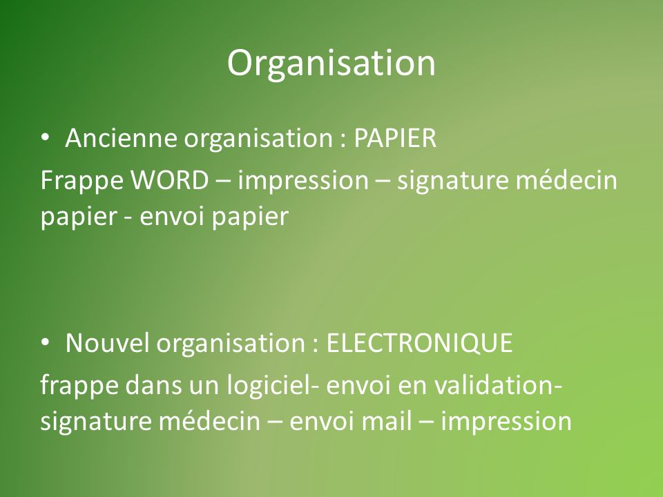 Organisation Ancienne organisation : PAPIER Frappe WORD – impression – signature médecin papier - envoi papier Nouvel organisation : ELECTRONIQUE frappe dans un logiciel- envoi en validation- signature médecin – envoi mail – impression