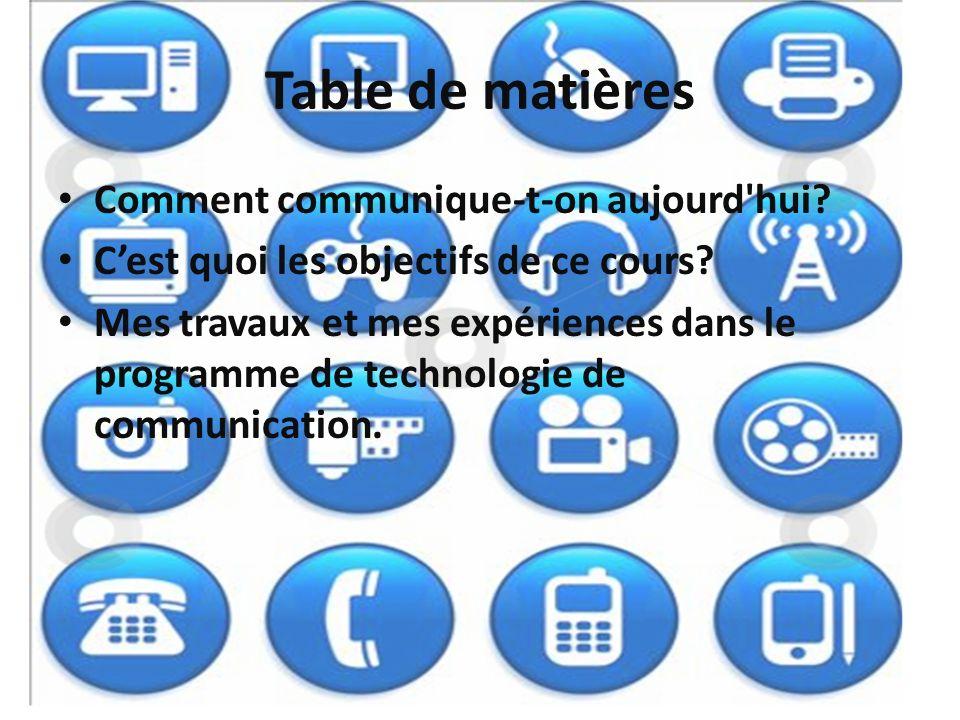 Table de matières Comment communique-t-on aujourd'hui? Cest quoi les objectifs de ce cours? Mes travaux et mes expériences dans le programme de techno