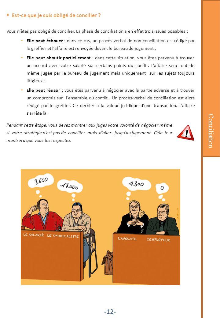 Conciliation -12- Est-ce que je suis obligé de concilier ? Vous nêtes pas obligé de concilier. La phase de conciliation a en effet trois issues possib
