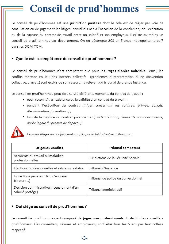 Conseil de prudhommes -3- Le conseil de prudhommes est une juridiction paritaire dont le rôle est de régler par voie de conciliation ou de jugement le