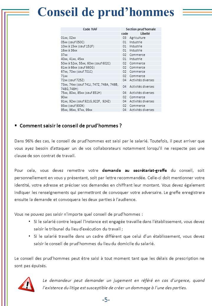 Conseil de prudhommes -5- Comment saisir le conseil de prudhommes ? Dans 96% des cas, le conseil de prudhommes est saisi par le salarié. Toutefois, il