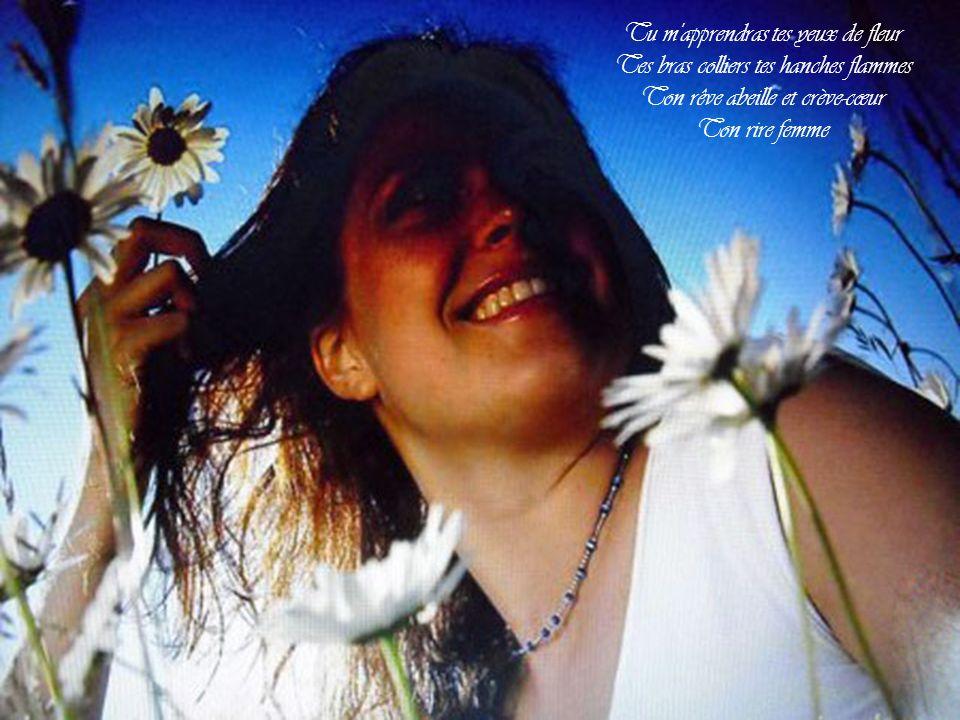 Tu m apprendras tes yeux de fleur Tes bras colliers tes hanches flammes Ton rêve abeille et crève-cœur Ton rire femme