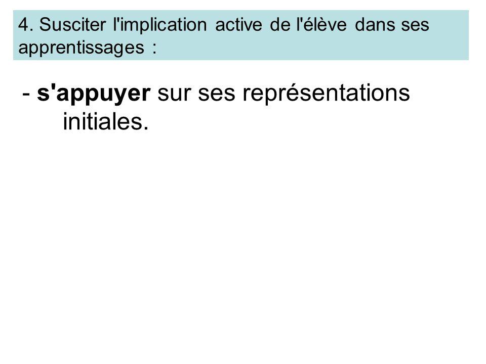 4. Susciter l'implication active de l'élève dans ses apprentissages : - s'appuyer sur ses représentations initiales.