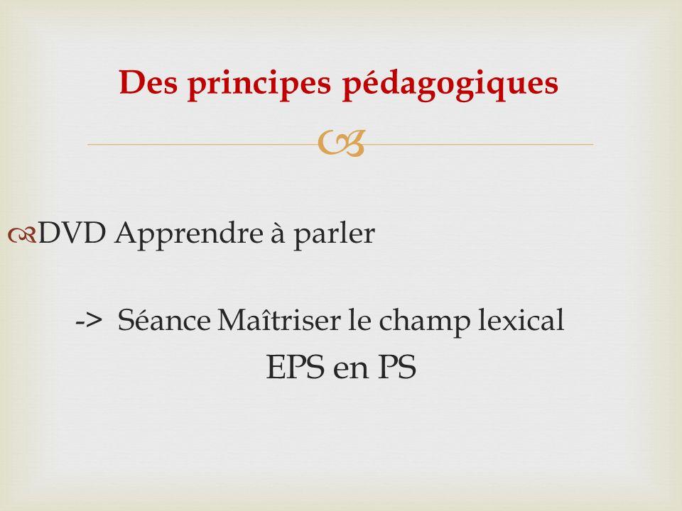 DVD Apprendre à parler -> Séance Maîtriser le champ lexical EPS en PS Des principes pédagogiques