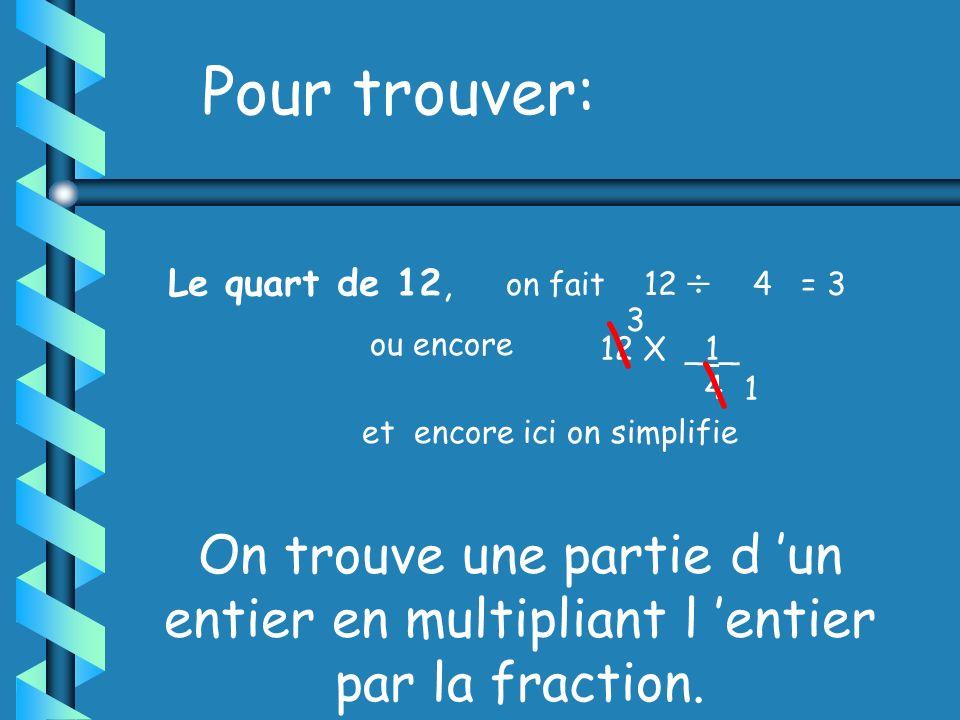 Pour trouver: La moitié de 12, on fait l opération 12 2 = 6 ou encore 12 X _1_ 2 et on simplifie \ \ 6 1 Le tiers de 12, on fait 12 3 = 4 ou encore 12