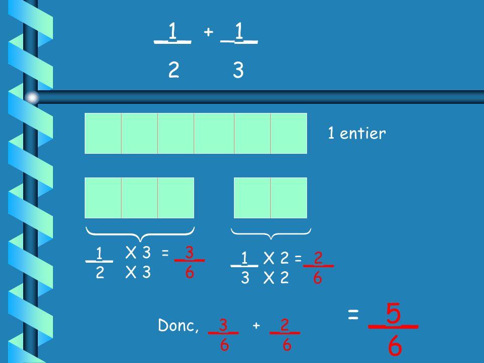 On doit premièrement placer les fractions au même dénominateur pour pouvoir avoir une base commune de comparaison. Ex: _1_ + _1_ Les fractions doivent
