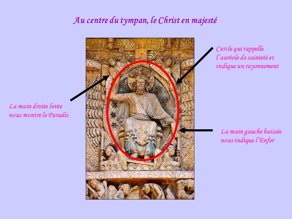 Au centre du tympan, le Christ en majesté Cercle qui rappelle lauréole de sainteté et indique un rayonnement La main droite levée nous montre le Paradis La main gauche baissée nous indique lEnfer