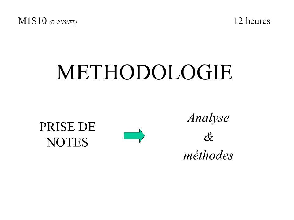METHODOLOGIE PRISE DE NOTES Analyse & méthodes M1S10 (D. BUSNEL) 12 heures