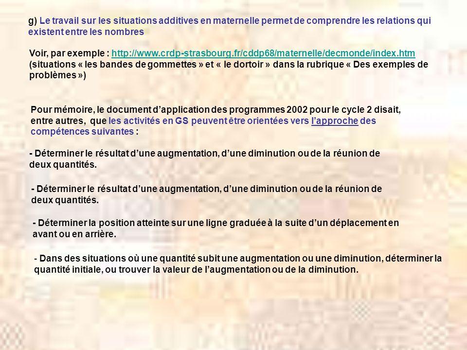 g) Le travail sur les situations additives en maternelle permet de comprendre les relations qui existent entre les nombres Voir, par exemple : http://www.crdp-strasbourg.fr/cddp68/maternelle/decmonde/index.htmhttp://www.crdp-strasbourg.fr/cddp68/maternelle/decmonde/index.htm (situations « les bandes de gommettes » et « le dortoir » dans la rubrique « Des exemples de problèmes ») Pour mémoire, le document dapplication des programmes 2002 pour le cycle 2 disait, entre autres, que les activités en GS peuvent être orientées vers lapproche des compétences suivantes : - Déterminer le résultat dune augmentation, dune diminution ou de la réunion de deux quantités.