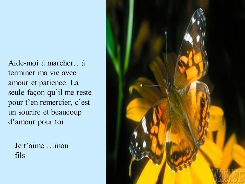 Aide-moi à marcher…à terminer ma vie avec amour et patience. La seule façon quil me reste pour ten remercier, cest un sourire et beaucoup damour pour
