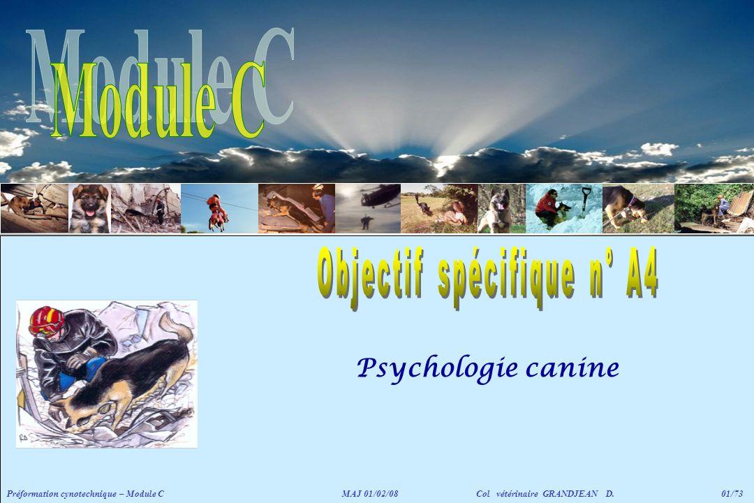 Psychologie canine Préformation cynotechnique – Module CMAJ 01/02/08 Col vétérinaire GRANDJEAN D. 01/73