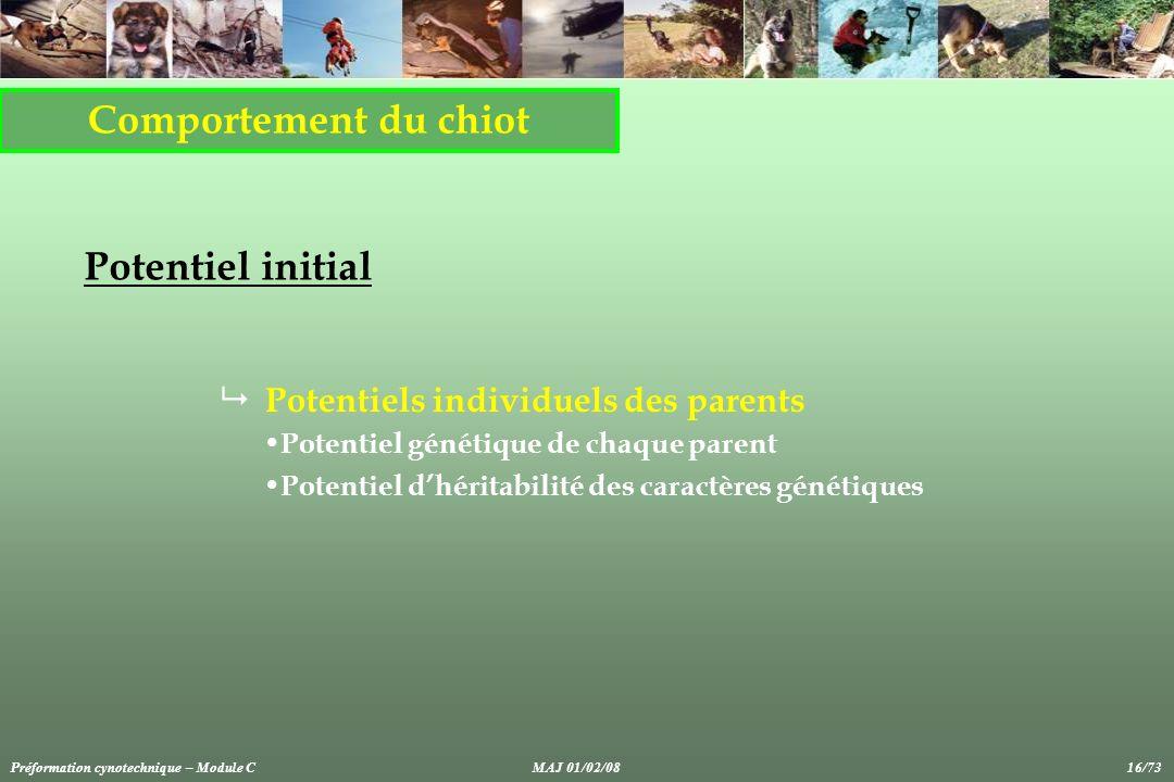 Comportement du chiot Potentiel initial Potentiels individuels des parents Potentiel génétique de chaque parent Potentiel dhéritabilité des caractères génétiques Préformation cynotechnique – Module CMAJ 01/02/08 16/73