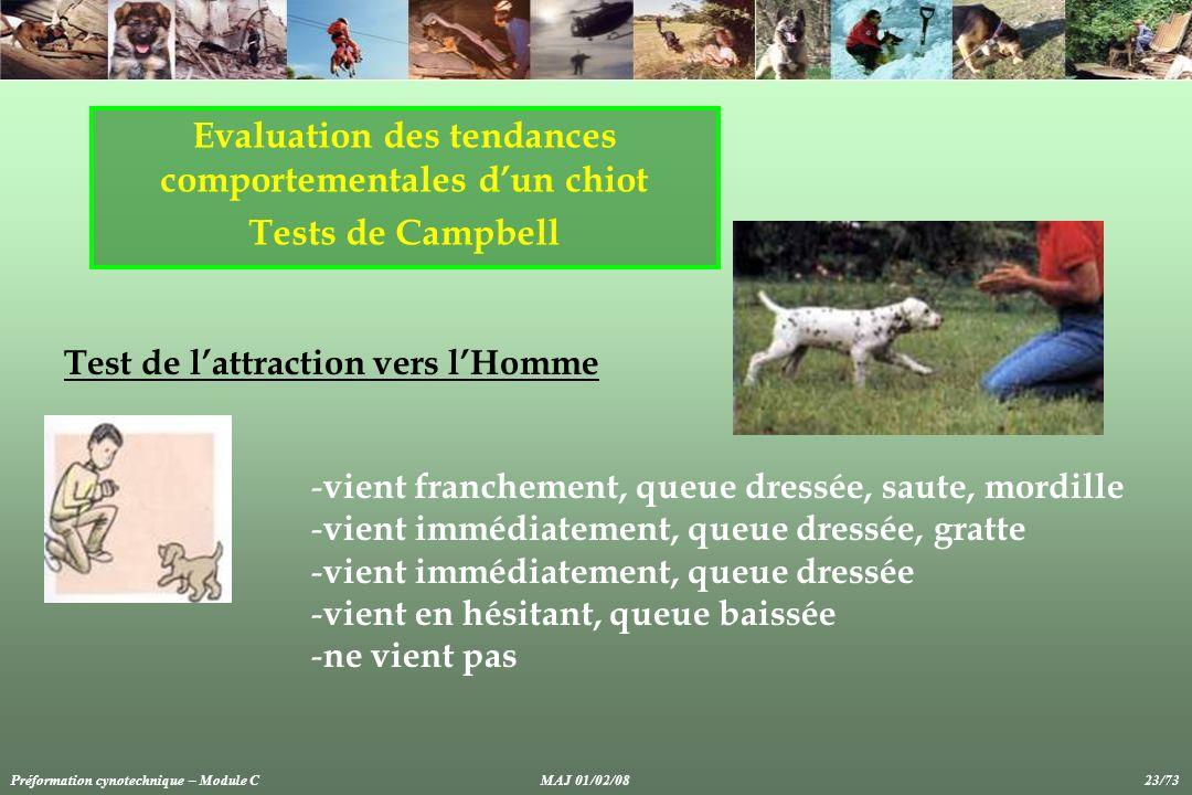 Evaluation des tendances comportementales dun chiot Tests de Campbell Test de lattraction vers lHomme - vient franchement, queue dressée, saute, mordi