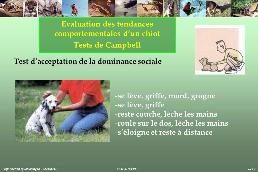 Evaluation des tendances comportementales dun chiot Tests de Campbell Test dacceptation de la dominance sociale - se lève, griffe, mord, grogne - se l